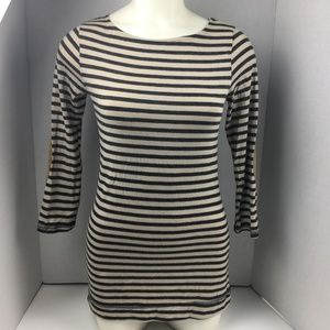 WallpapHER Striped Blue Cream Top Elbow Patches M